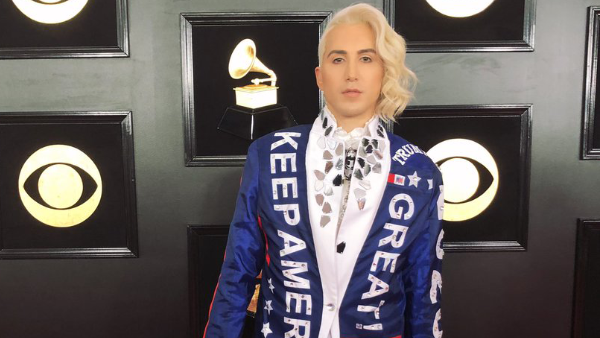 Ricky Rebel Wears Keep America Great Jacket to GRAMMYs