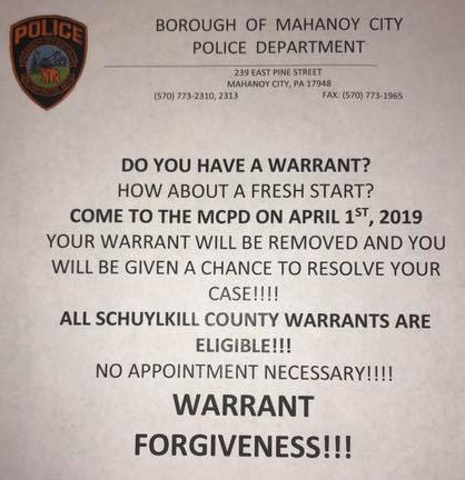 Mahanoy City PD Offering Fresh Start on Warrants – Limited Time Only