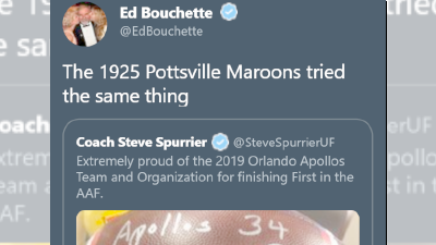 HOF Steelers Reporter Ed Bouchette Tries Comparing Pottsville Maroons to Steve Spurrier's AAF Championship Claim