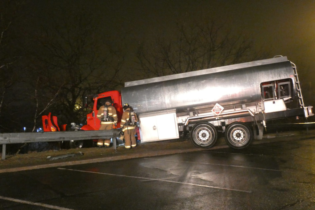 Diesel Truck Goes Through Guard Rail at Frackville McDonald's