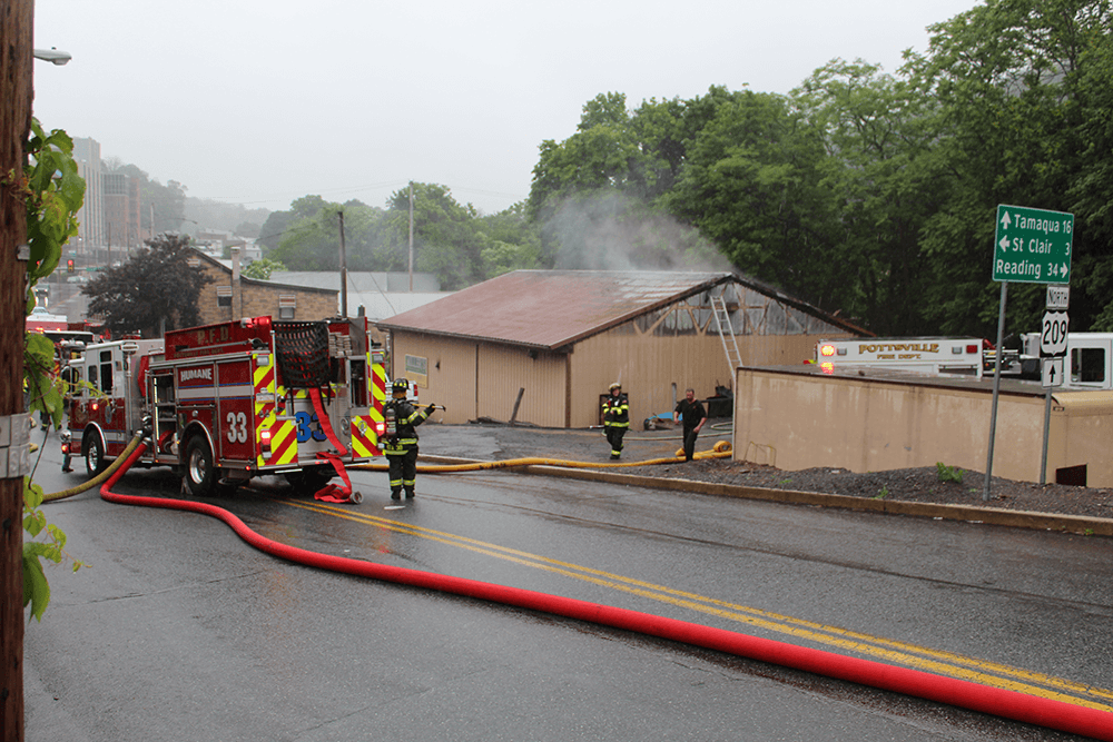 fire damages pottsville auto business