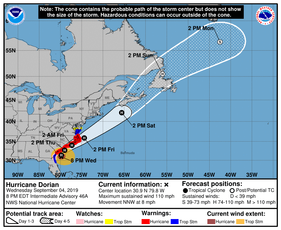 Locals With Interests in Ocean City Maryland Need to Watch Hurricane Dorian Forecast