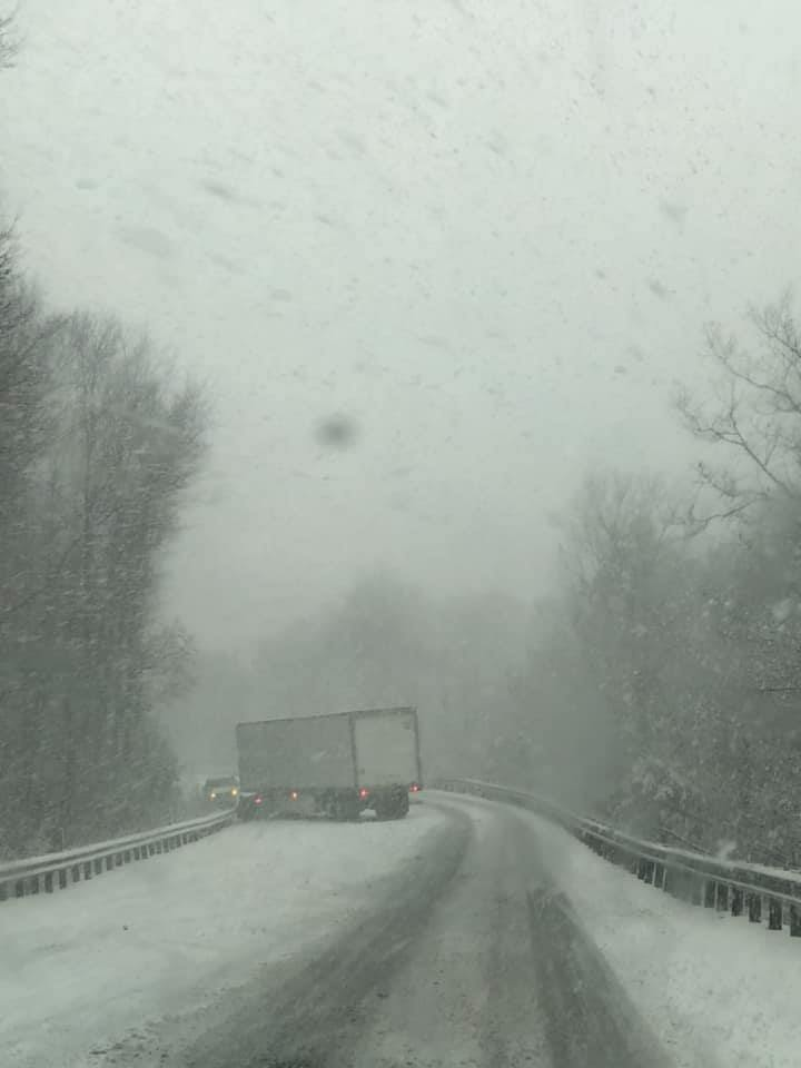 snow squall truck stuck schuylkill county
