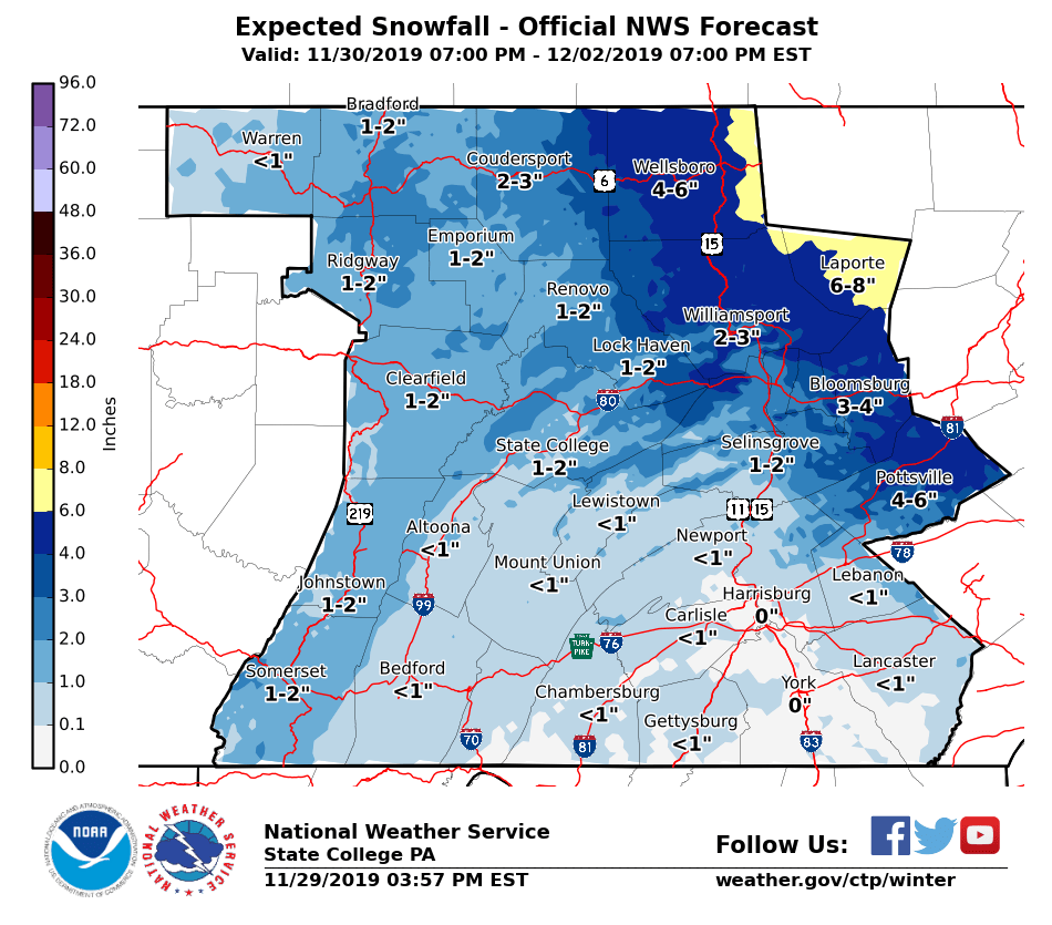 ❄️ Winter Storm Watch – NWS Says 4-6″ in Schuylkill County ❄️