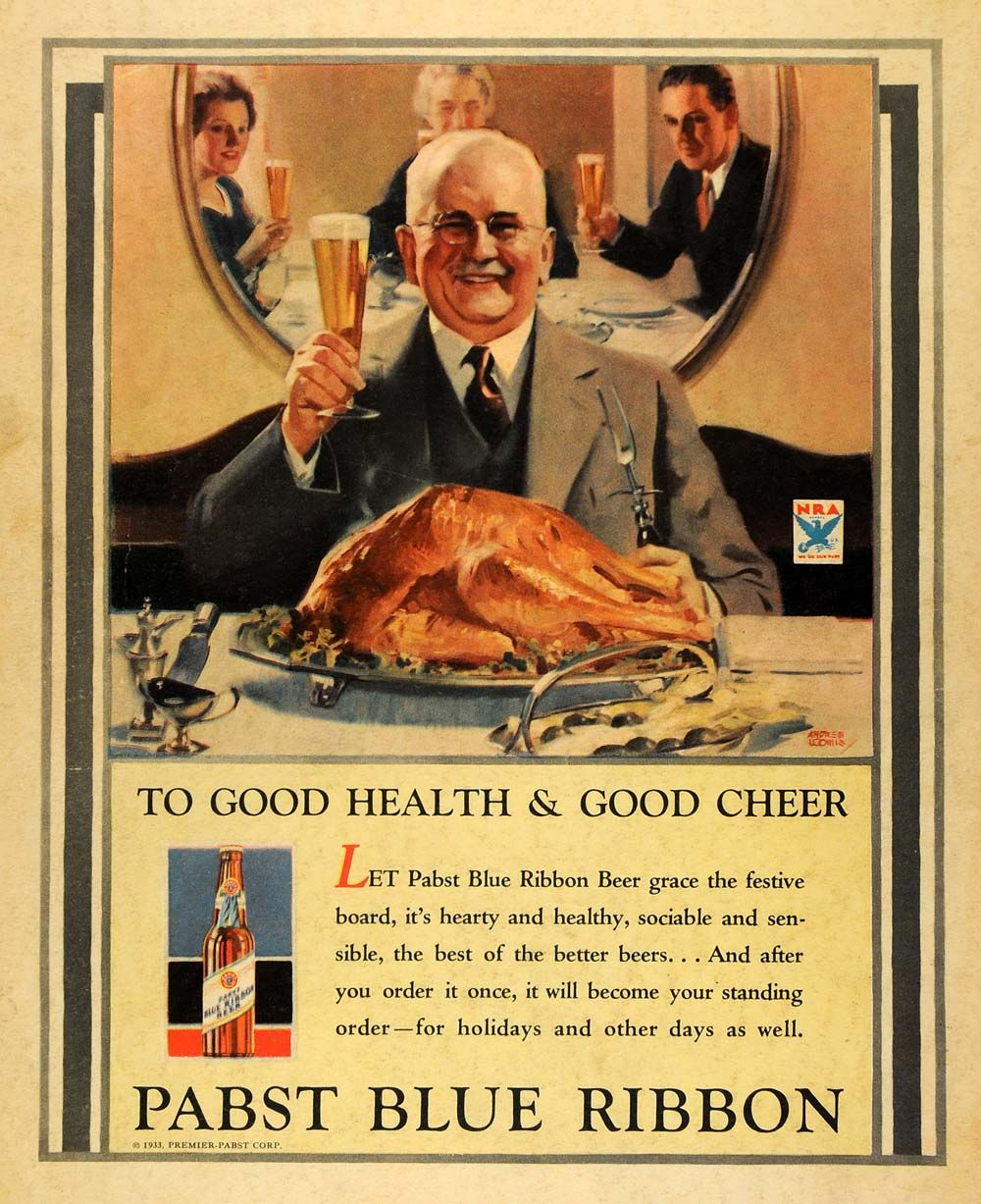 vintage thanksgiving ads pabst blue ribbon