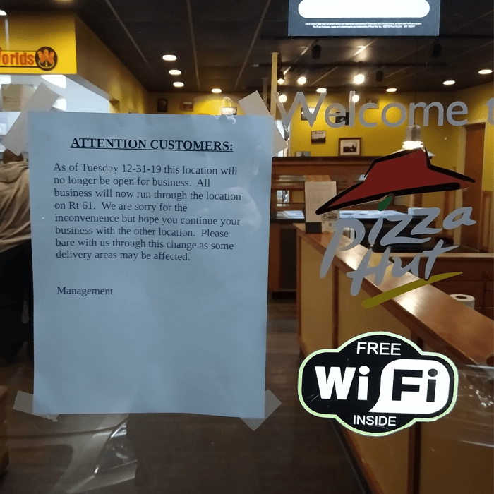 Pottsville Pizza Hut Going Out of Business