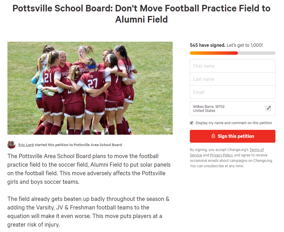 online petition pottsville practice fields