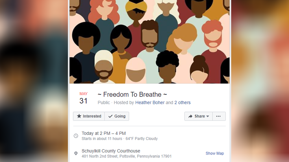Freedom to Breathe Protest in Pottsville on Sunday in Response to George Floyd Death
