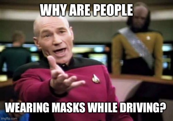 wearing masks while driving picard