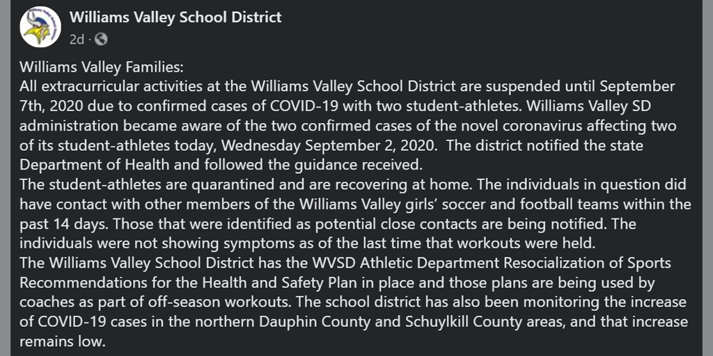 Williams Valley Says 2 Students are COVID Positive – Football Game Canceled