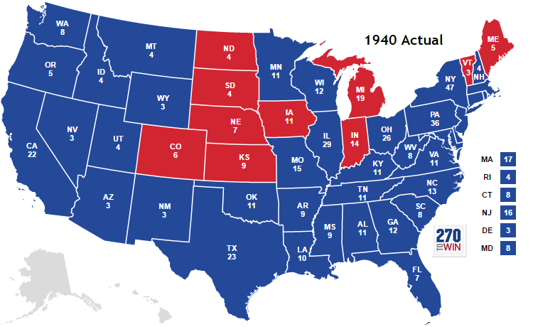 1940 presidential election electoral map