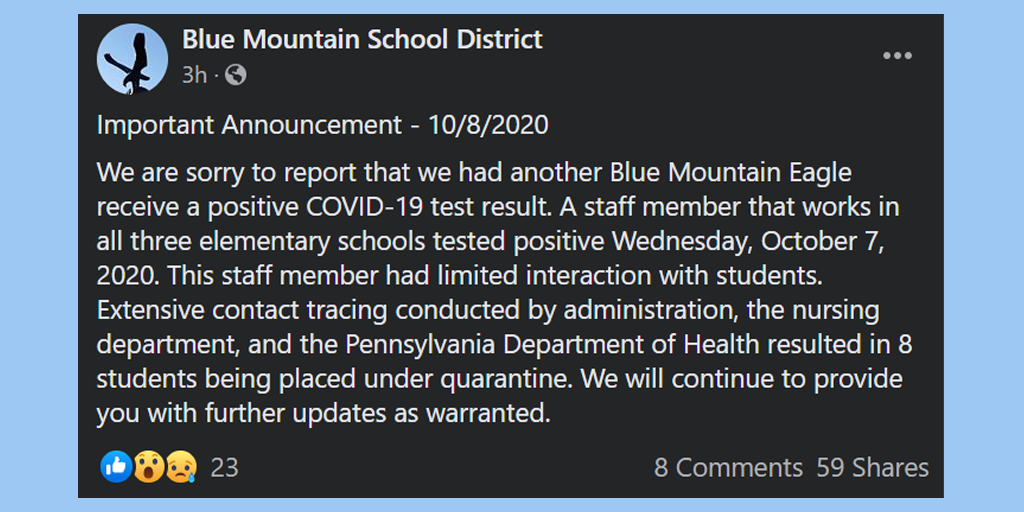 "32 Blue Mountain Students and Staff ""Placed Under Quarantine"""