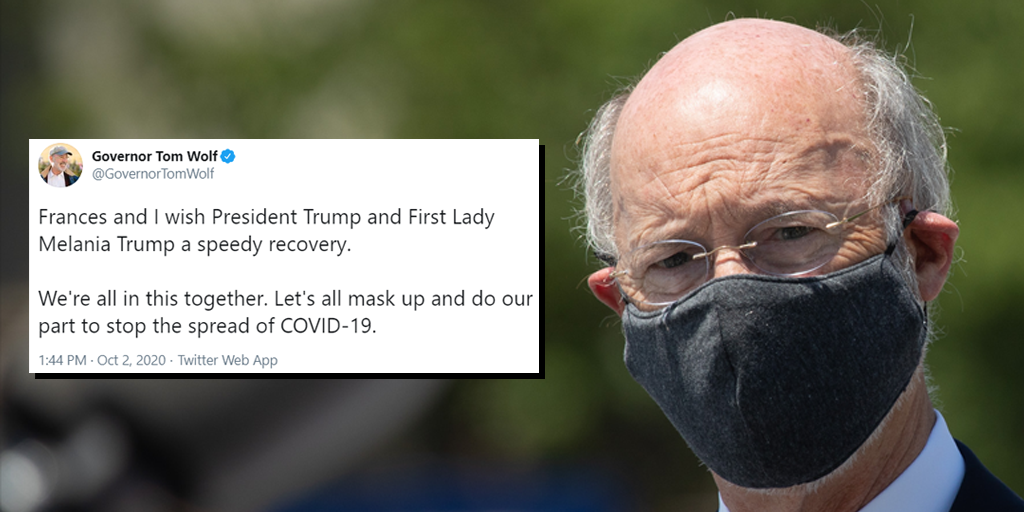 tom wolf trump covid get well soon masks