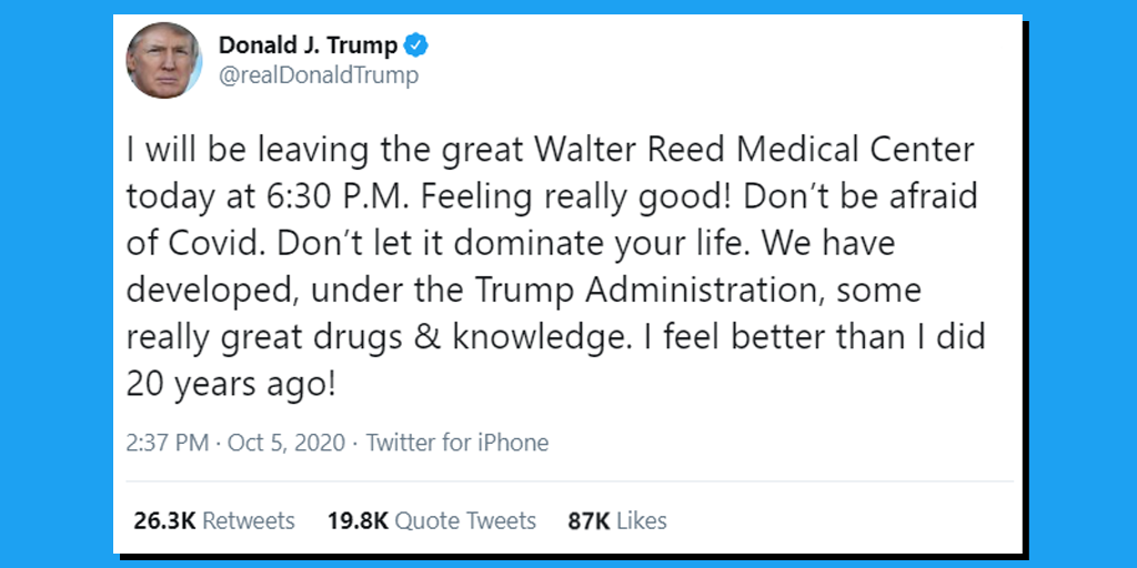 Trump Leaving Walter Reed on Monday Evening