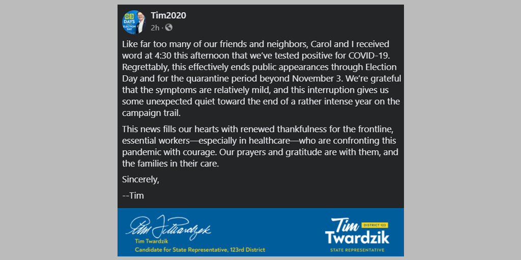 Candidate for 123rd District Tim Twardzik and Wife Test Positive for COVID
