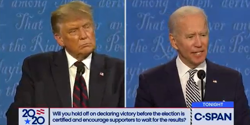 will biden hold off declaring victory 2020 election first debate