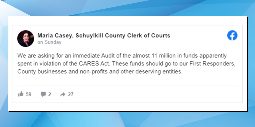"Clerk of Courts Calls for ""Immediate Audit"" of Schuylkill CARES Act Spending"