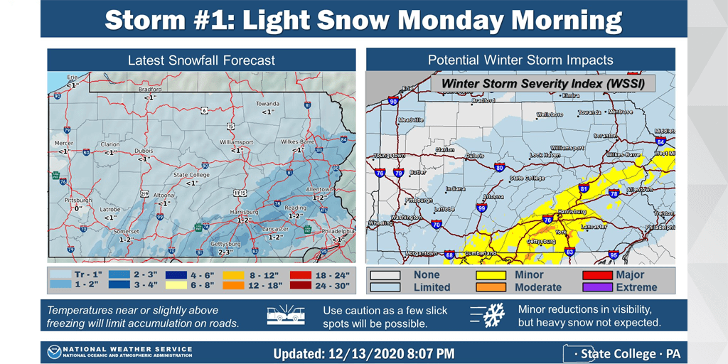 Inch of Snow Possible Monday in Schuylkill County