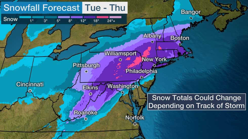 the weather channel snow prediction map december 16