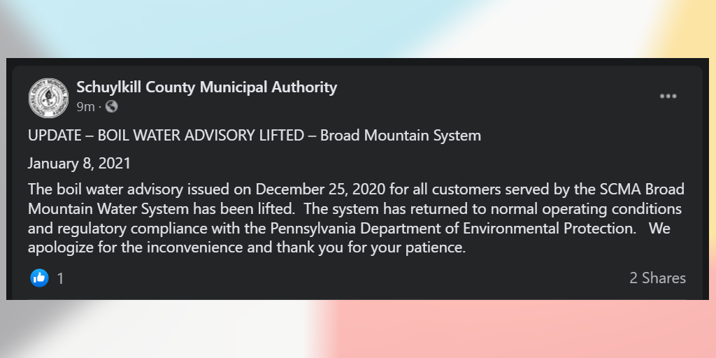 Boil Water Advisory Finally Lifted by Schuylkill County Municipal Authority
