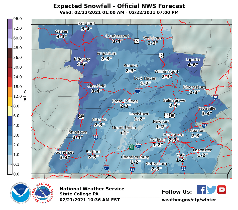 Snow on Monday – How Much for Schuylkill County?