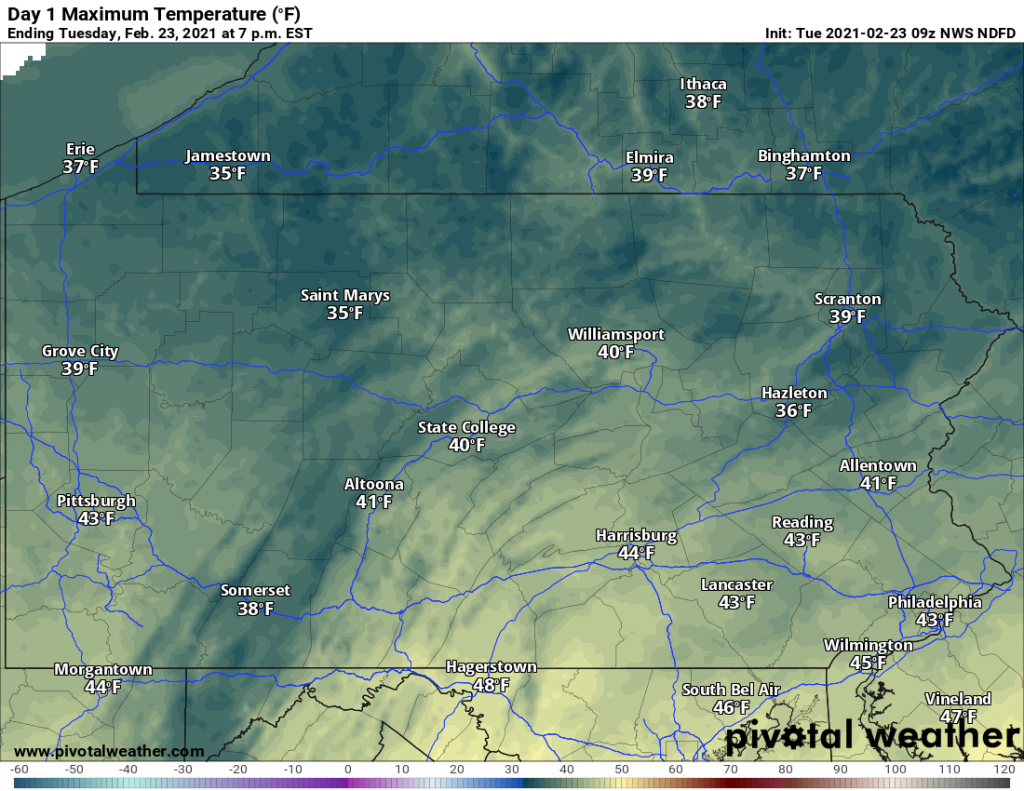 Schuylkill County Weather Forecast for February 23, 2021