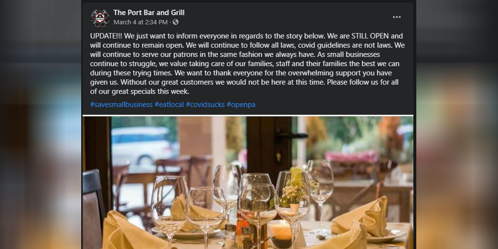 port bar and grill ordered to close