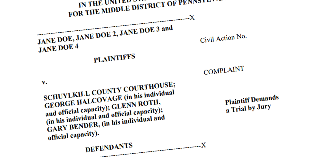 BOMBSHELL ALLEGATIONS!4 Schuylkill County Courthouse Employees Sue for Harassment, DiscriminationJane Doe: Halcovage Forced Me to Perform Oral Sex