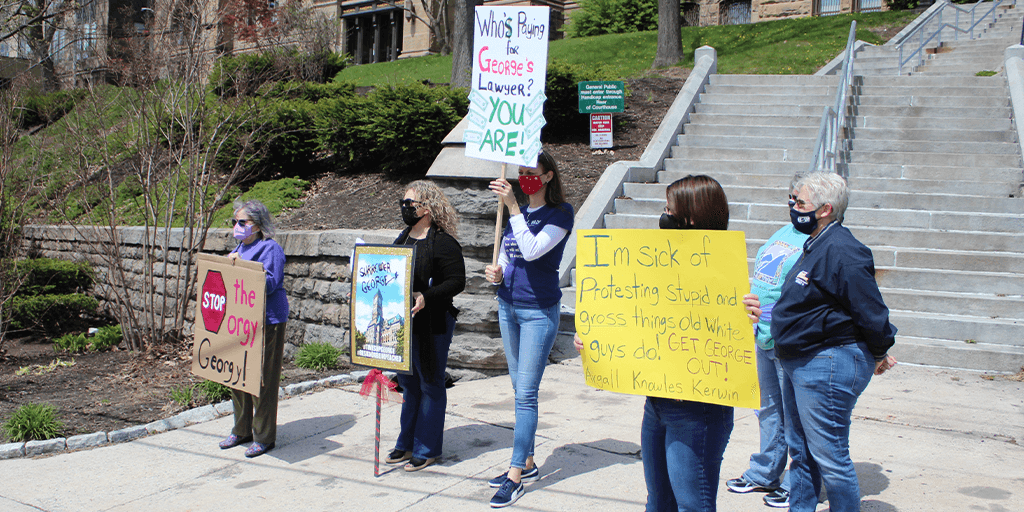 protest of Schuylkill County Commissioner george halcovage april 24 2021