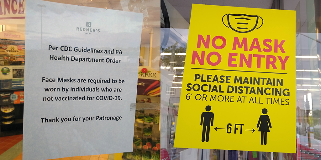 mask policy schuylkill county supermarkets