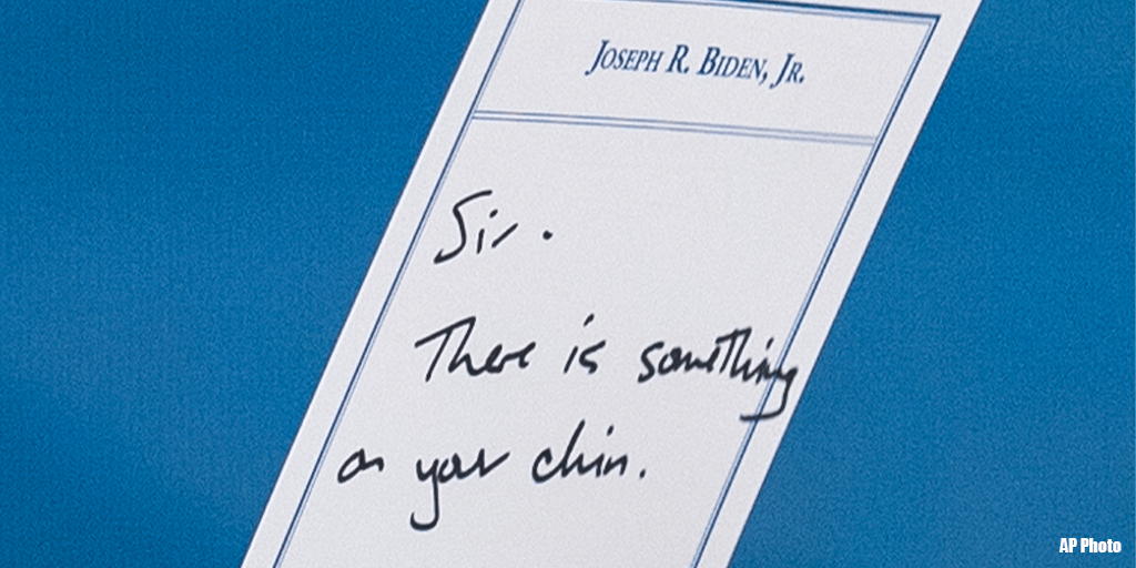 Biden Gets Note About Something on His Chin, Then Eats That Something