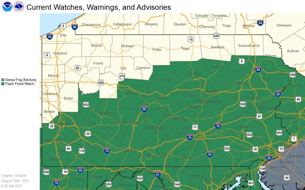 🌀 Flash Flood Watch Issued for Schuylkill County (Updated)