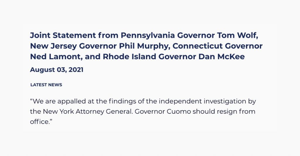 Wolf Joins Other Governors Calling on New York's Andrew Cuomo to Resign