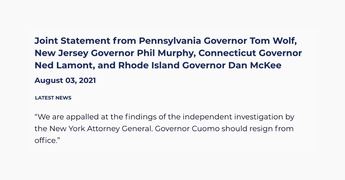 tom wolf tells new york governor andrew cuomo to resign sexual harassment allegations