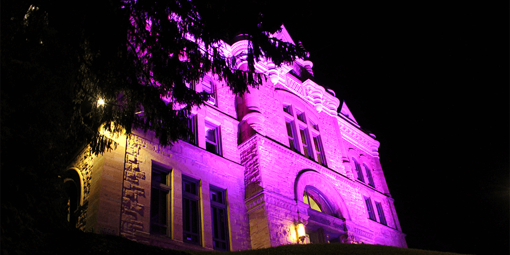 Schuylkill County Courthouse Lit Up Purple to Recognize National Recovery Month, Suicide Awareness