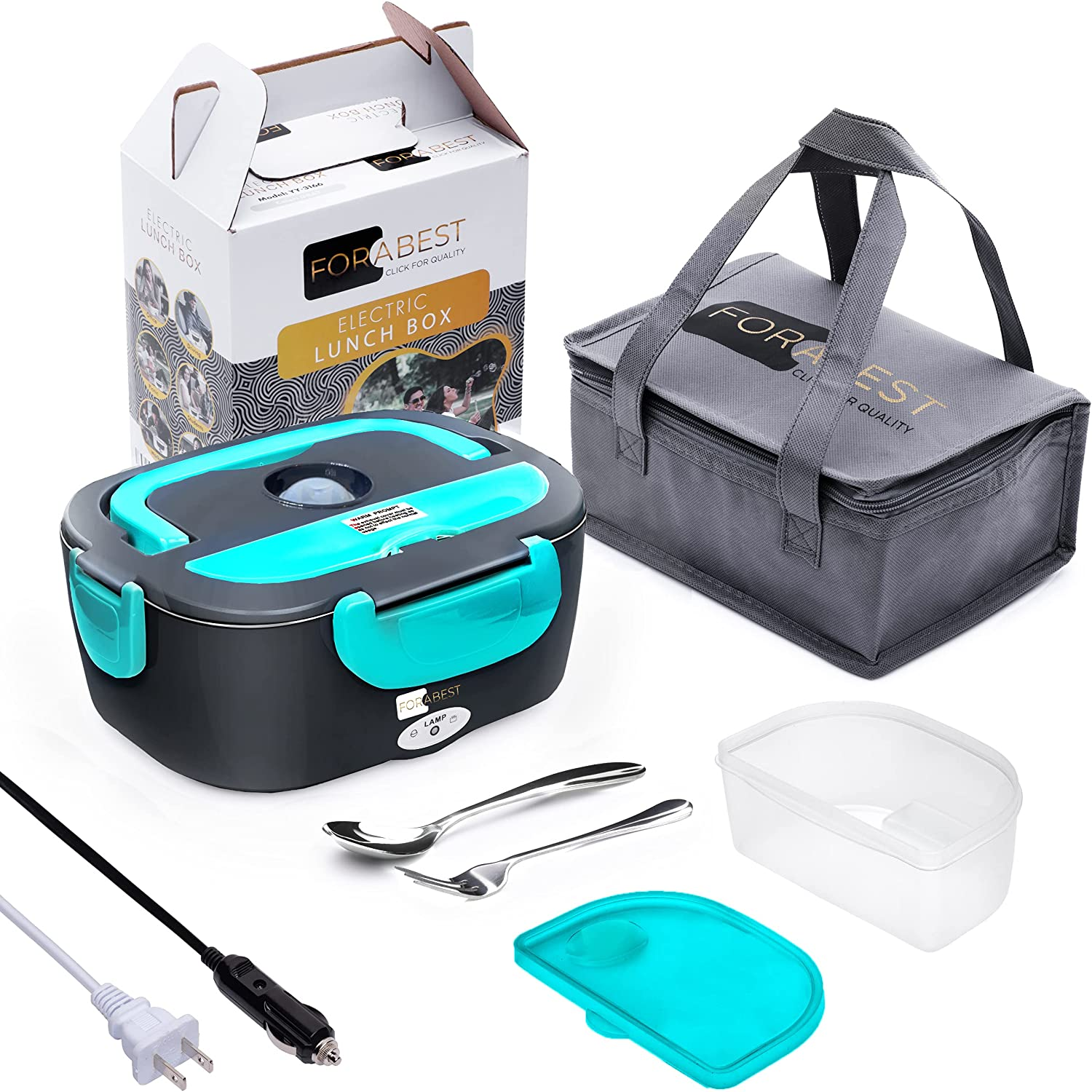 FORABEST 2-In-1 Portable Food Warmer Lunch Box
