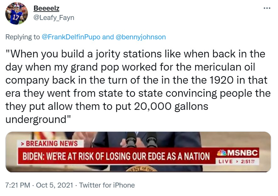 Biden Mumbles Something About Jority Stations or Charging Stations and Putting Gas Underground