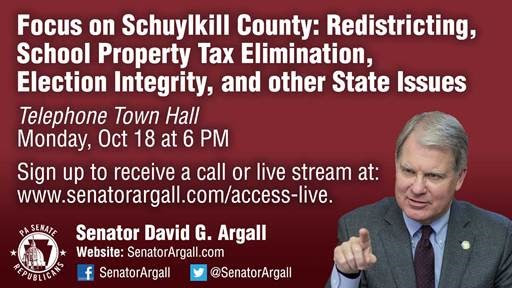 Argall Hosting Telephone Town Hall on Redistricting This Monday for Schuylkill County Residents